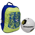 Diadora zaino advanced fluo lime FL2 con pallone
